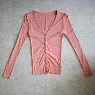🚚 Preloved Ribbed Cardigan In Orange
