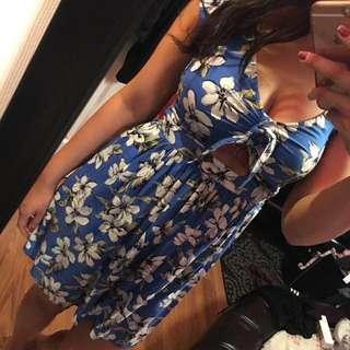 Blue Floral Dress (S)