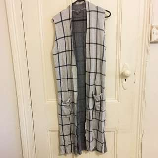 Mid Length Cardigan Grey Check