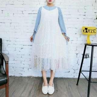 Katze zozo自訂款 沁涼背心紗裙 白色