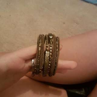 Bronze Gold Stacked Slinky Bracelet