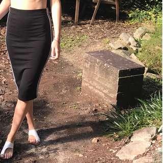 Black Stripe Midi Skirt