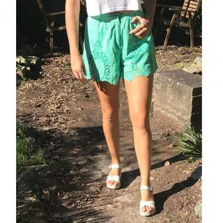 Green High-waisted Shorts With Lace Detail
