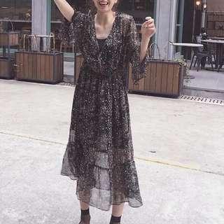 黑 碎花 雪紡洋裝 (全新轉賣)