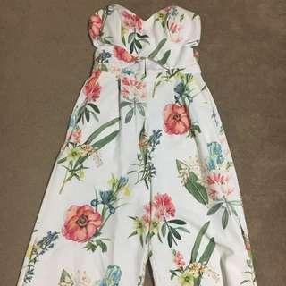 Forever New Strapless Floral Jumpsuit Size 10