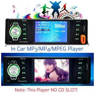 "3.6"" TFT Screen Car MP3 MP4 Player USB AUX In & SD Card With Remote (12V Use)(BNIB)"
