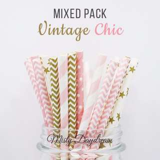 25pc VINTAGE CHIC Mixed Color Straws