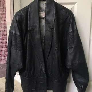 Vera Pellet Vintage Black Patterned Oversize Leather Jacket