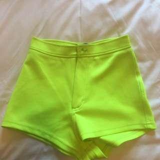 Fluro Yellow Shorts
