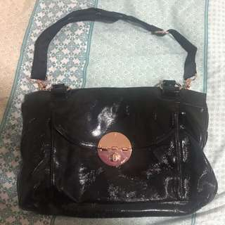 Mimco Turnlock Worker Black Patent Leather