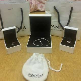 Authentic PANDORA With 3 Charms