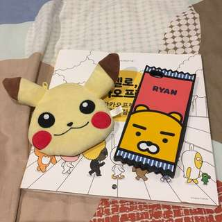 Kakao Friends Ryan Silicone Candy Phone Case And Pikachu Wallet Bundle