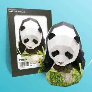 🚚 韓國帶回)happy paper熊貓貓熊摺紙模型紙雕擺飾