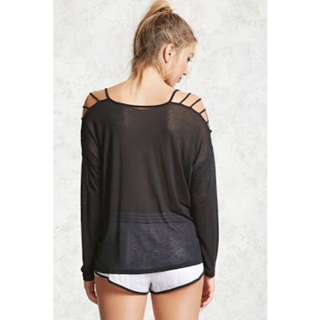 F21 Forever 21 Active Ladder Sleeves Top