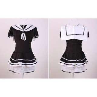 日系女學生水手裝海軍風短袖連衣裙 M size