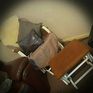White And Brown Rocking Chair Used Only About A Hand Full Of Times,
