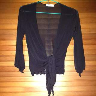 Brown Mesh 3/4 Sleeve Zig Zag Wrap Top Size 8 (Goes With Brown/green Tiedie Dress)