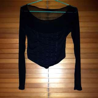 Black Long Sleeve Cropped Mesh Top Size M