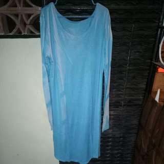 ((Repricee)) Tunik Simetris Kain Kaos Unbranded Biru Cerah + Tote Bag Black
