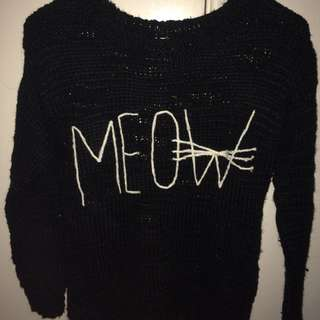 Black Meow Knitted Jumper