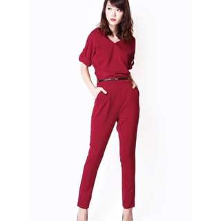 AFA Celeb Day Off Jumpsuit in Wine Red (Size S)