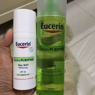 Eucerin Dermo Purifyer Toner & Day Mat Whitening SPF30 (Facial Sunscreen).