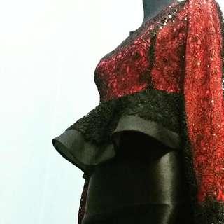 Red Black Peplum Kurung