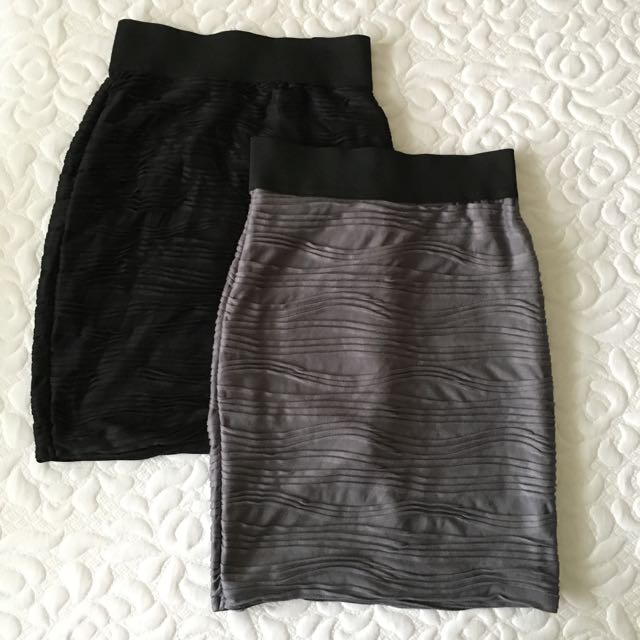 Lot Of 2 Flattering Ruched Pencil Skirts XS