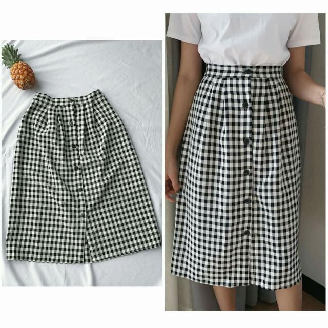 排釦格子半身裙
