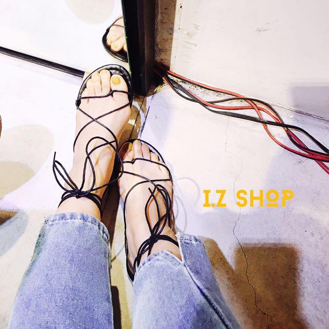 實拍🌸簡約羅馬綁帶涼鞋