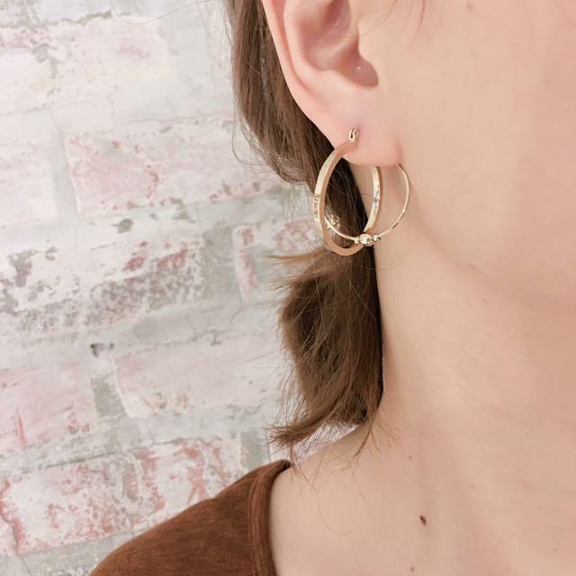 轉賣 全新 喀樂屋屋 正韓金色圓形造型耳環