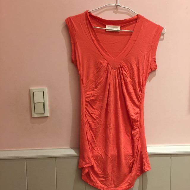 桃紅混橘色 蜜桃🍑色 ZARA 垂墜感v領 長版 微性感上衣