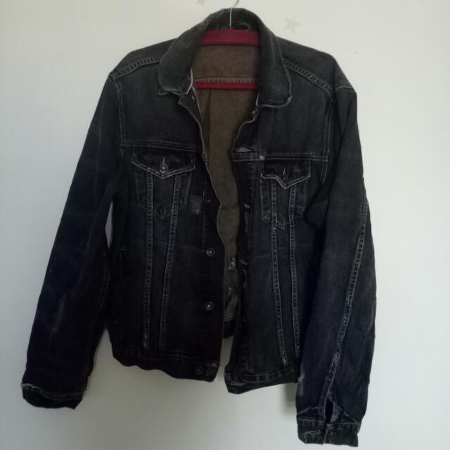FREE Black Distressed Denim Jacket