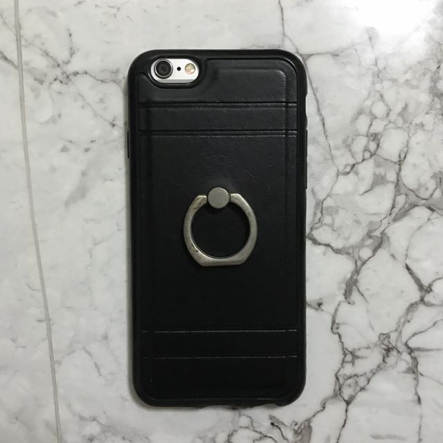 Black Leather case with ring for iPhone 6/6s