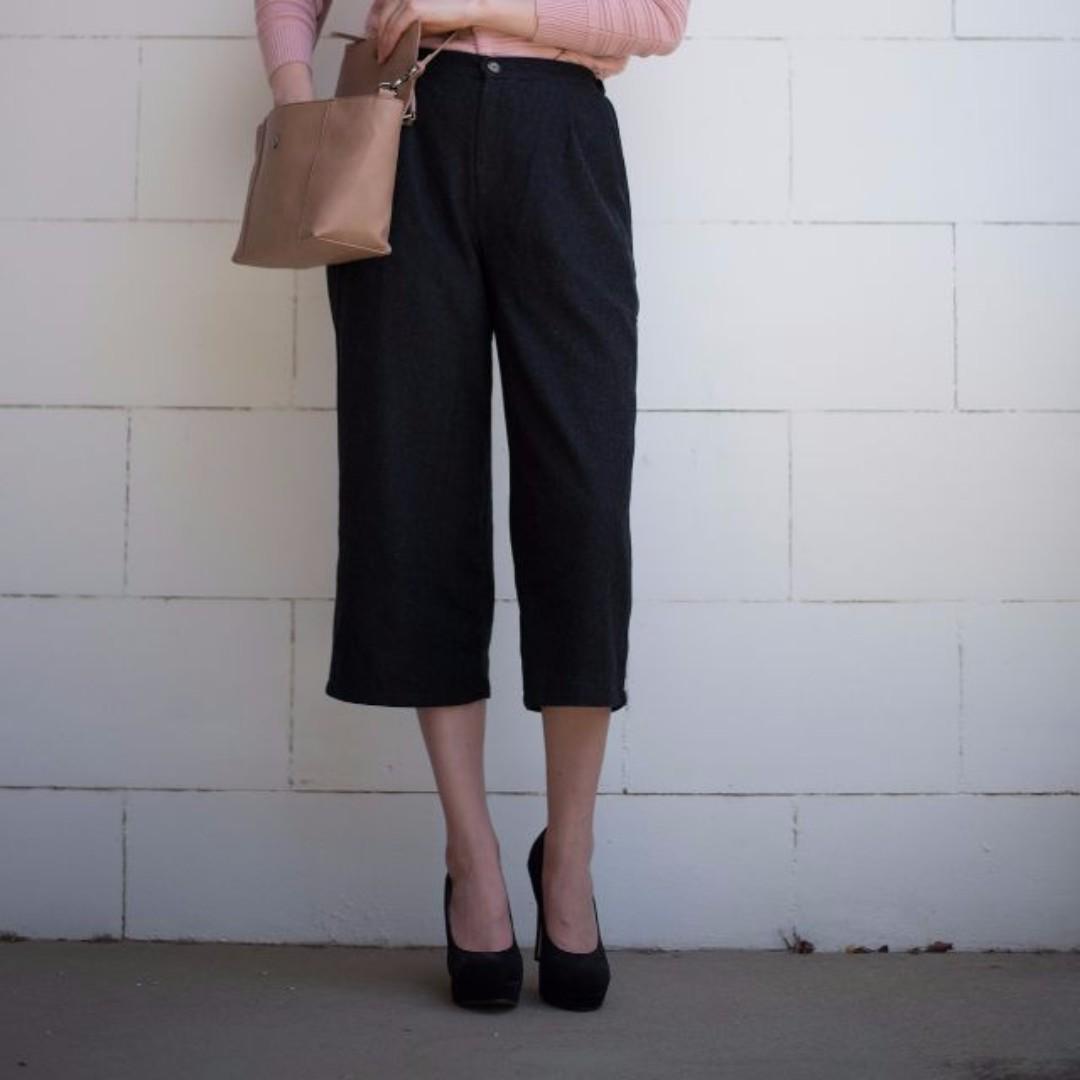 Black midi winter pants