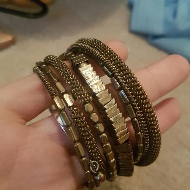 Bronze Gold Stacked Slinky Bracelet