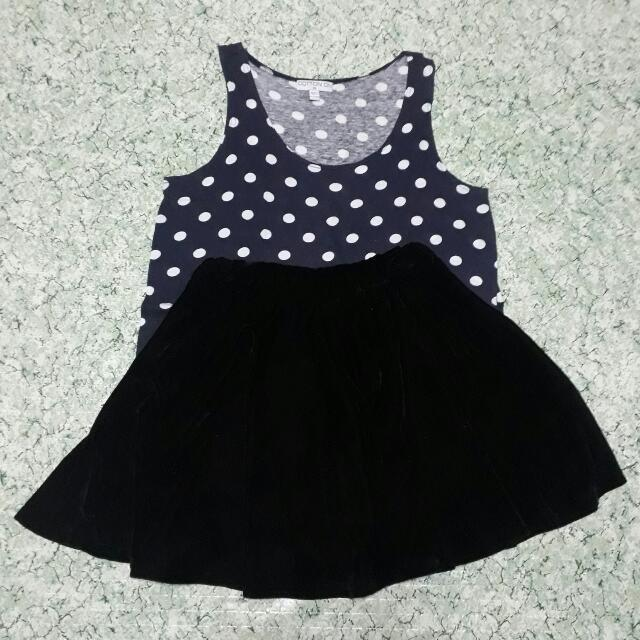 Bundle 3: Cotton On Polka Dots Top & Velvet Skater Skirt