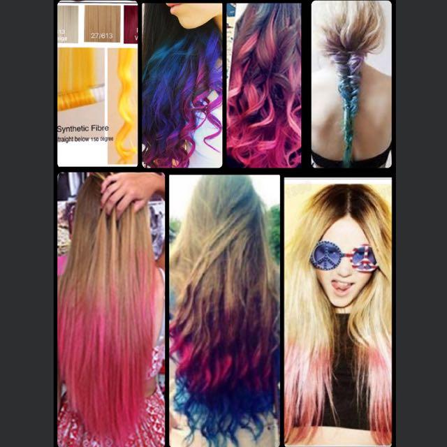 Color Dip Dye Straight Hair Extension 5 Clips Health Beauty Hair