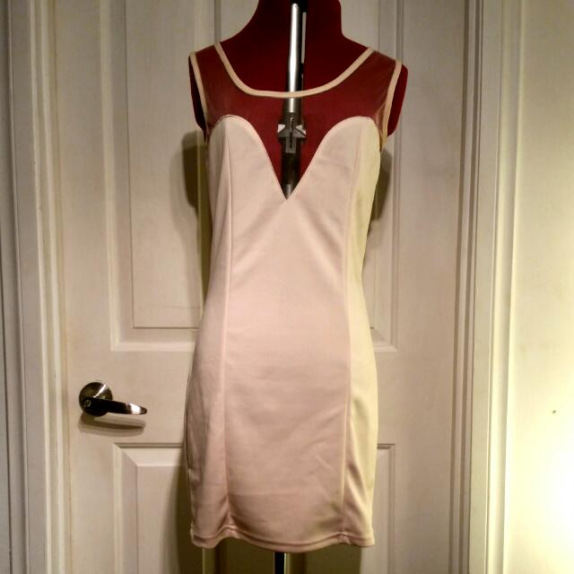 Cream Bodycon Mini Dress Size 8