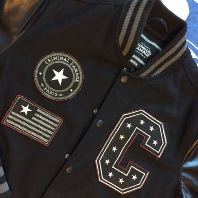 Criminal Damage Varsity Jacket With Stars