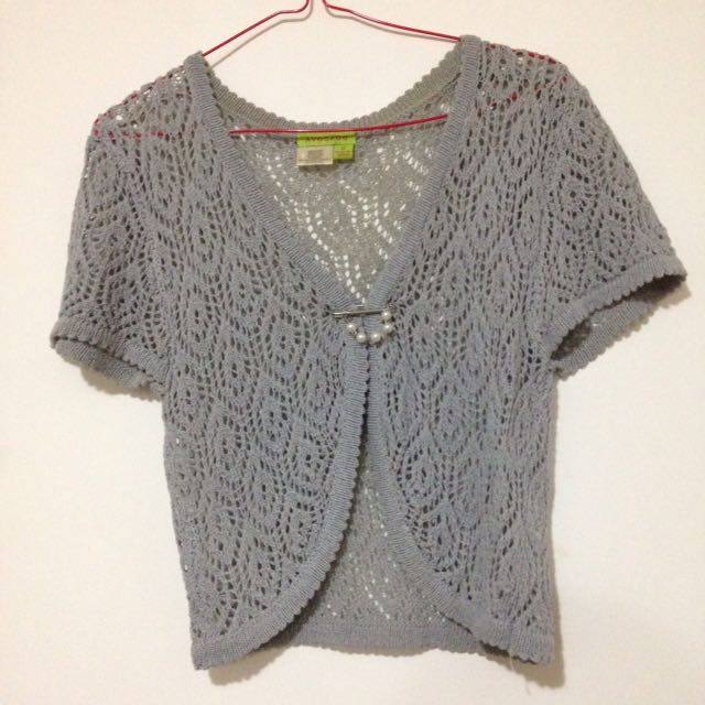Cropped Grey Cardigan with Pearl Pin
