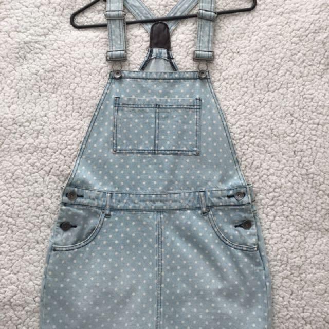 Cute Denim Polka Dot Skirt Overalls