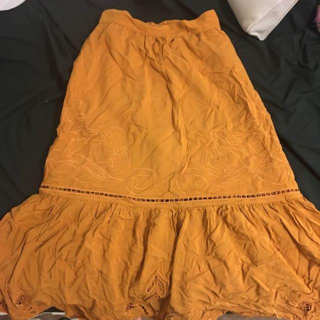 Deep Mustard Midi Skirt