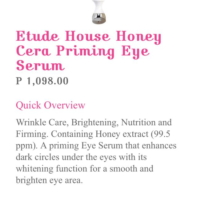 Etude House Honey Cera Eye Serum