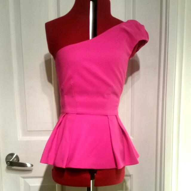 Forever New Size 6 Pink Peplum Top