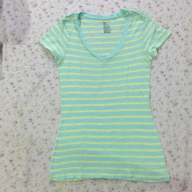 Gap Striped Green Shirt