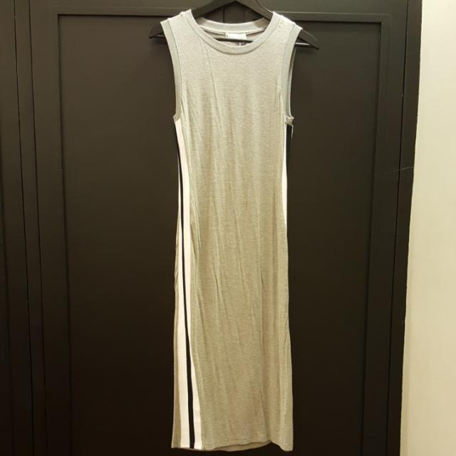 Gray Fitted Midi Dress With Side Stripes
