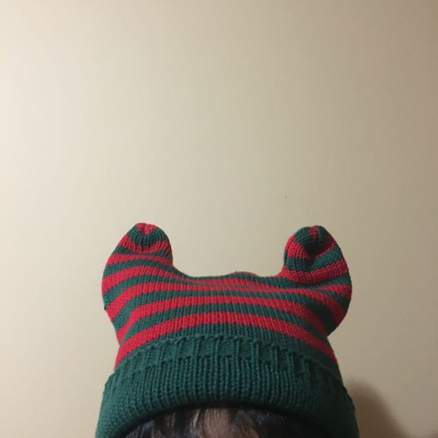 Green and Red Knitted Beanie
