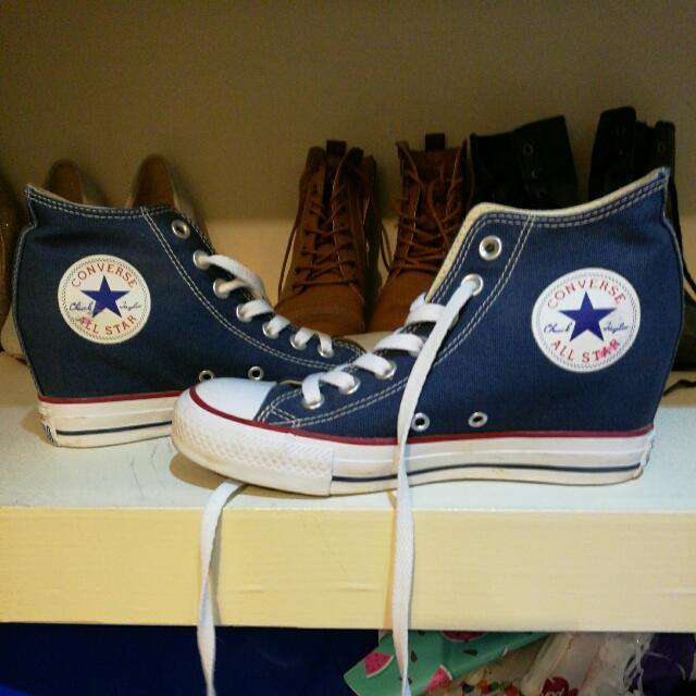 High Top Heeled Converse Blue