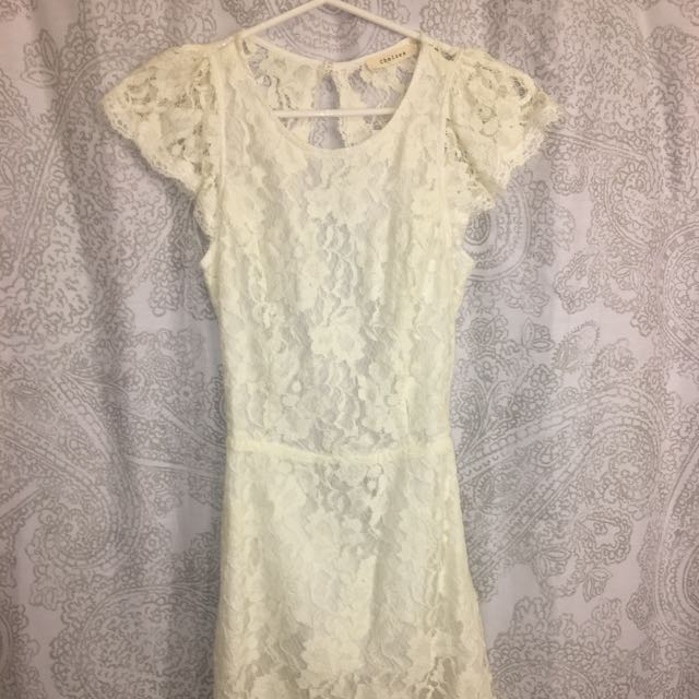 Honey White Lace Dress With Open Back